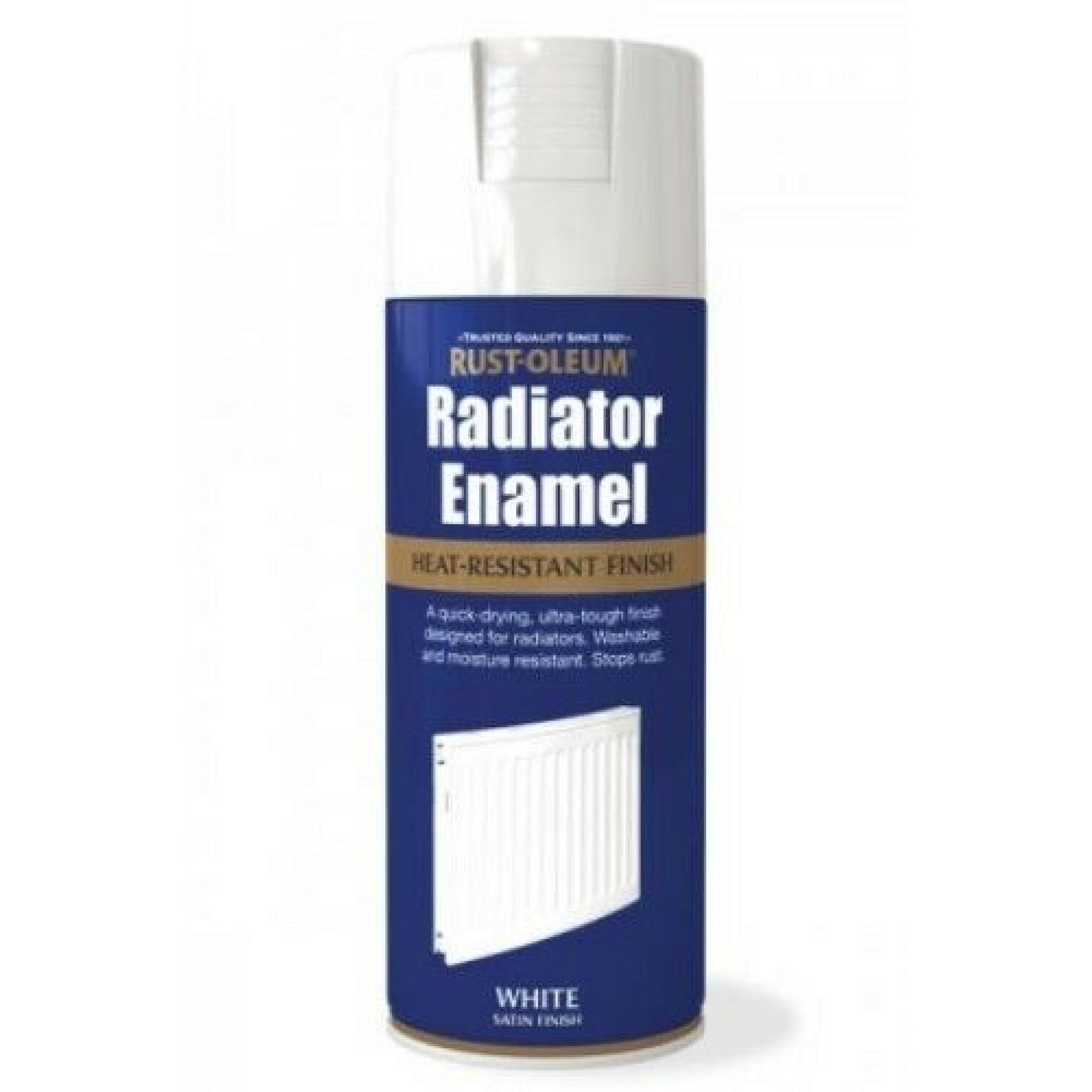 Radiator Enamel White Satin Rust Oleum Fast Dry Spray Paint Aerosol 400ml
