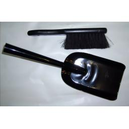 "Deville Strong Gloss Black 5"" Fire Shovel & Brush Ash Coal Logs Soot Scoop Spade"