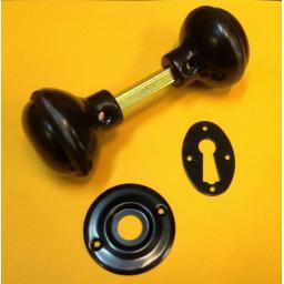 BLACK Metal Rim Lock Set Door Knob Lever Rim Knobs Spindle Shed