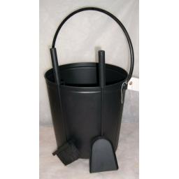 DEVILLE Coal Fire Log Burner Bucket on Wheels with FREE SHOVEL & BRUSH BLACK