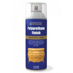 POLYURETHANE FINISH CLEAR GLOSS RUST-OLEUM Fast Dry Spray Paint Aerosol 400ml