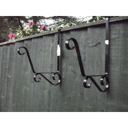 !!NEW!! Pair of TROUGH BRACKET Over the Fence Post & Panel Scroll Design Hook
