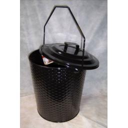 NEW Deville Weave Coal Ash Bucket & Lid Handle Hod Fire Log Holder Burner BLACK