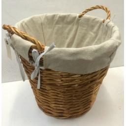 Round B 38x34cm Heavy Duty Hand Made Wicker Coal Fire Log Laundry Storage Basket