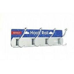 "Aluminium Chrome 4 Hook Hat & Coat Rail Hanger with Fixings 370mm (14.5"") Silver"
