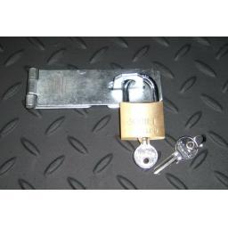 """Heavy Duty Door Gate Hasp & Staple & Padlock Sizes 3"""" 4"""" 6"""" inch Zinc Security"""