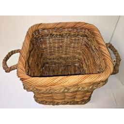 Square Heavy Duty Hand Made Rattan Wicker Fire Log Basket Laundry Storage (514)