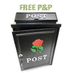 !NEW! RED ROSE Cast Aluminium Locking Metal Letter Post Box & Keys Hand Painted