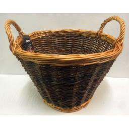 "NEW 17"" Manor 1356 Small Round Two Tone Hand Made Wicker Fire Log Storage Basket"
