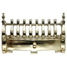 "Blenheim Polished Brass Fret Front 16"" inch Solid Fuel Fire Grate Coal Gold"