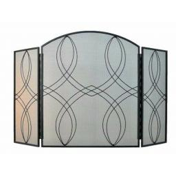 "Manor 1781 Reflection Heavy 3 Fold Fire Screen Spark Guard 26""hx42""w Coal Stove"