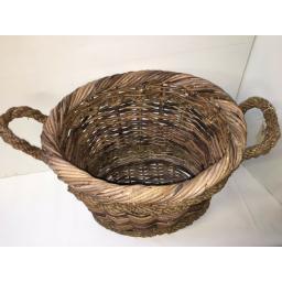Oval Heavy Duty - Hand Made Rattan Wicker Fire Log Basket Laundry Storage (502)