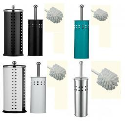 Toilet Roll Holder & Toilet Brush Set Bathroom Stainless Steel White Black Blue