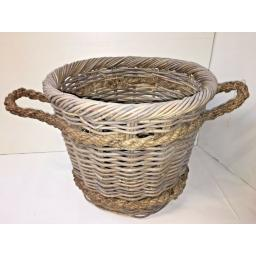 Round Heavy Duty - Hand Made Rattan Wicker Fire Log Basket Laundry Storage (521)
