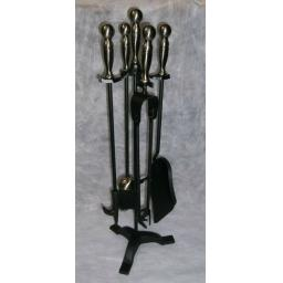 DeVille PEWTER Round Top Companion Coal Fuel Fire Set CHROME SILVER Tongs Poker