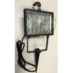 NEW BLACK Halogen Garden Spotlight Wall Ground Spike or Carry Handle Floodlight