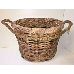 Oval Heavy Duty - Hand Made Rattan Wicker Fire Log Basket Laundry Storage (502)