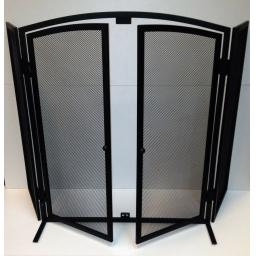 "NEW! Deville with Doors 3 Fold Fire Screen Spark Guard 24""hx38""w Coal Log Burner"
