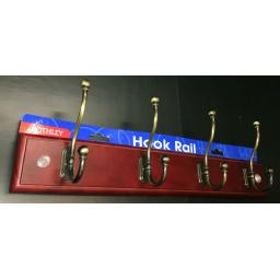 Wooden Coat Hat Hanger 4 Hook Rail Holder Rack Keys Hooks Antique Pine Mahogany
