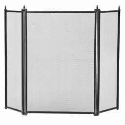 Manor 1797 Regency BLACK 3 Fold Fire Screen Spark Guard - Coal Stove Folding