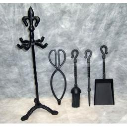 "BLACK Fleur De Lys Top HEAVY Companion Coal Fuel Fire Set 21"" SATIN FINISH"
