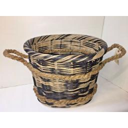 Oval Heavy Duty - Hand Made Rattan Wicker Fire Log Basket Laundry Storage (532)