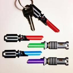 2 x Star Wars Lightsaber Blank Key fits Yale 1A/U6D purple/green