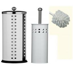 Toilet Roll Holder & Toilet Brush Set Bathroom Stainless Steel White Black Blue