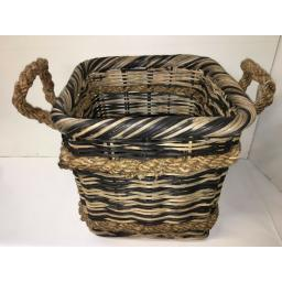 Square Heavy Duty Hand Made Rattan Wicker Fire Log Basket Laundry Storage (534)