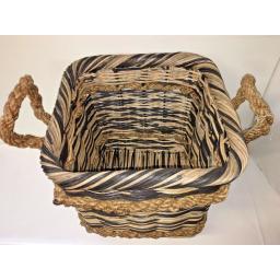Square Heavy Duty Hand Made Rattan Wicker Fire Log Basket Laundry Storage (534)