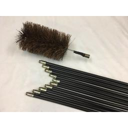 "NEW 6"" inch x 30ft Long Flue Brush Chimney Soot Cleaning Sweeping Set Drain Rods"