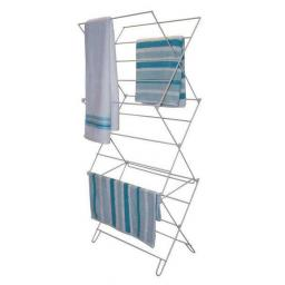 3 tier Concertina Clothes Horse - Airer Dryer - White Metal Folding Dry Air