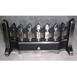 "BEACON 16"" inch PEWTER SILVER SOLID FUEL COAL FIRE KIT SET GRATE ASHPAN FRET"