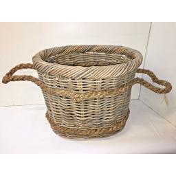 Oval Heavy Duty - Hand Made Rattan Wicker Fire Log Basket Laundry Storage (522)