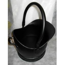 "HEAVY DUTY Large 13"" SATIN Black Quality Helmet Bucket Coal Hod Ash Fire Log"