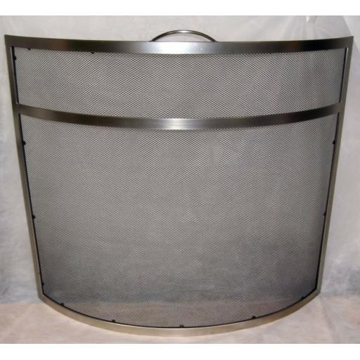 "DEVILLE Heavy Duty Curved Coal Fire Screen Spark Guard 25""hx28""w Pewter Silver"