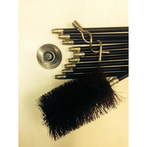 "4"" inch x 30ft Long Flue Brush Chimney Soot Cleaning Sweeping Set Drain Rods"