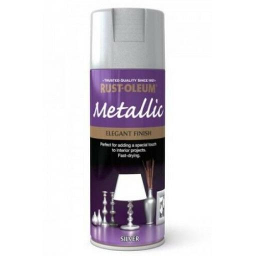 ELEGANT FINISH SILVER RUST-OLEUM Fast Dry Spray Paint Aerosol 400ml