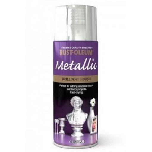 Rust-Oleum Brilliant Finish Metallic Chrome Fast Dry Spray Paint Aerosol 400ml