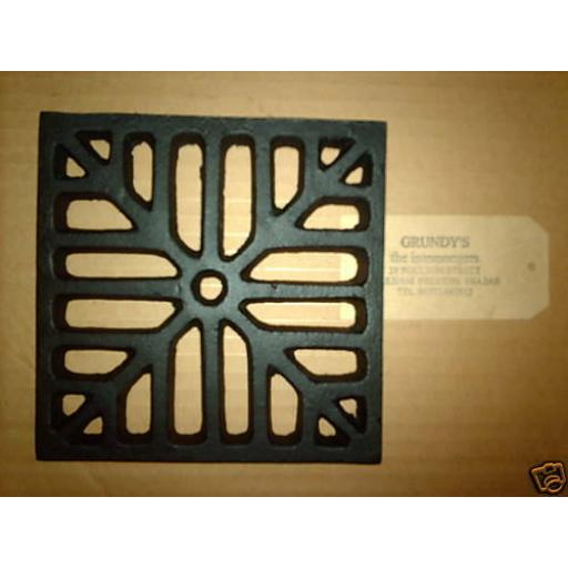 "6.5"" SQUARE Cast Iron Gully Grid Driveway Drain Cover"
