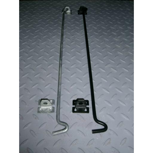 "Heavy Duty Extra Long Door Gate Cabin Hook & Eye 24"" (600mm) Black or Galvanised"