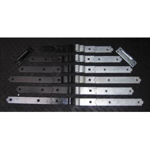 Pair Heavy Duty Gate Hook & Band Black or Galvanised Straight Cranked Hinges Pin