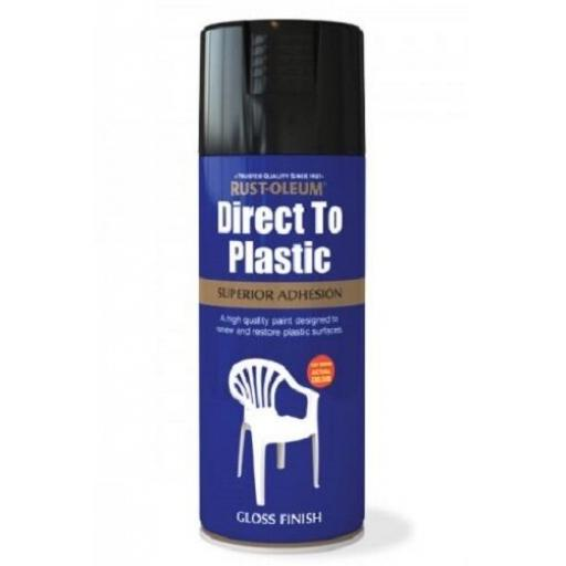 DIRECT TO PLASTIC GLOSS BLACK RUST-OLEUM Fast Dry Spray Paint Aerosol 400ml
