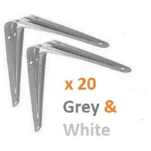 "10"" X 8"" INCH BOX OF 20 LONDON SHELF BRACKETS SUPPORT BRACKET METAL GREY & WHITE"