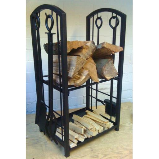 Heavy Duty Manor 0317 Log Station - Fire Companion Set Stand - Wood Fuel Holder