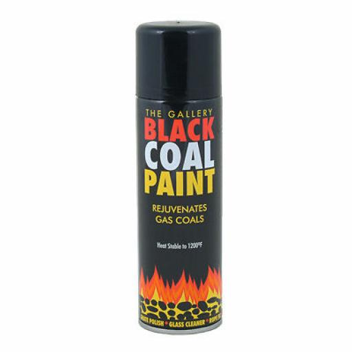 Black COAL PAINT Rejuvenates Gas Fire Coals 300ml