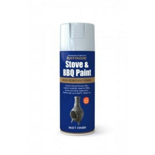 STOVE & BBQ PAINT SILVER RUST-OLEUM Fast Dry Spray Paint Aerosol 400ml