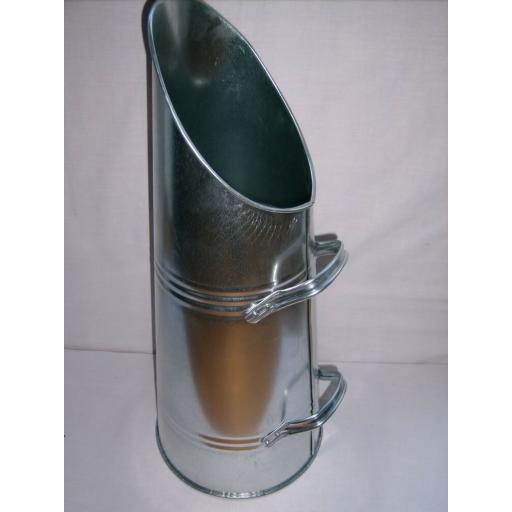 "Galvanised Coal Hod 23"" Ash Fire Log Holder Bucket & Handle Scuttle"