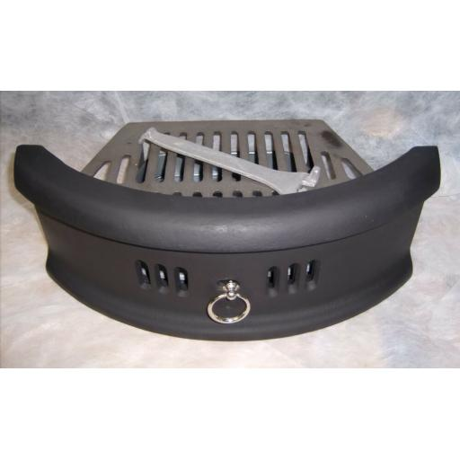 "N Curved 16"" inch BLACK & silver SOLID FUEL COAL FIRE KIT SET GRATE ASHPAN FRET"