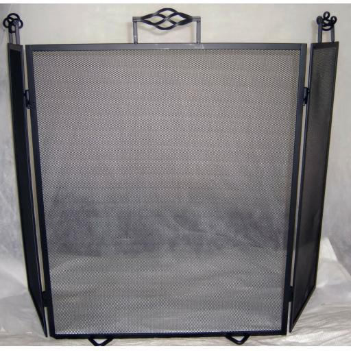 "Deville Cage Heavy Duty 3 Fold Fire Screen Spark Guard 26""hx38""w Coal Log Burner"